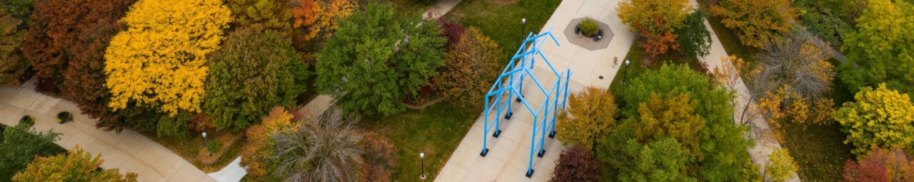 Arial photo of the transformational link on GVSU's Allendale campus